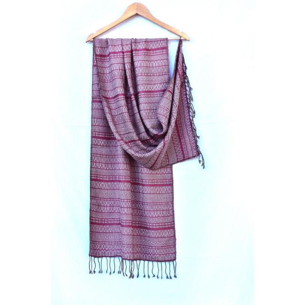 Silk Wool Stole (black, moss green & undyed, pink)