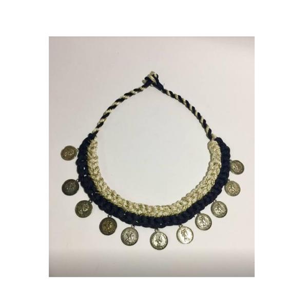 Strings and antique golden coin neckpiece