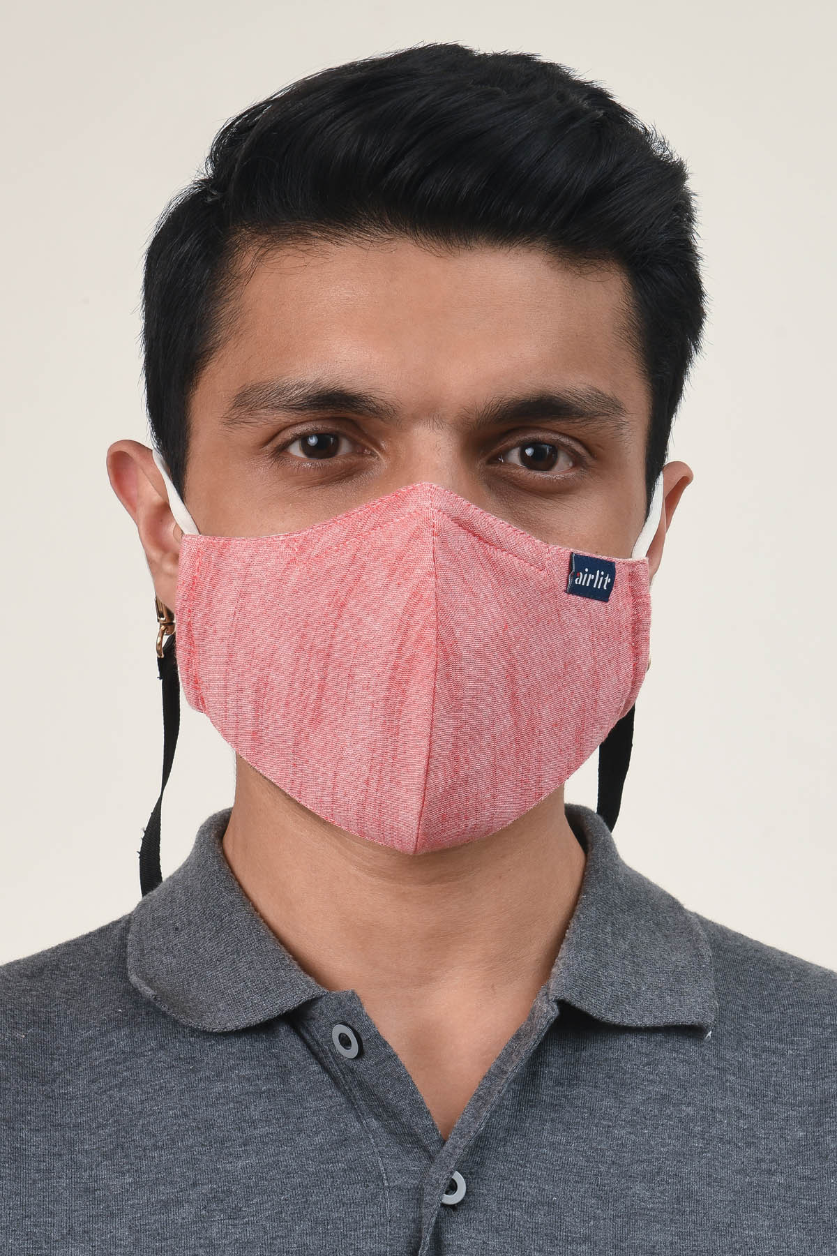 THE SCARLET hand woven khadi cotton Reusable Mask/4 Layer Breathable /With Nosepin/Lab tested Antimicrobial/Antiviral/Coolit™/Handmade