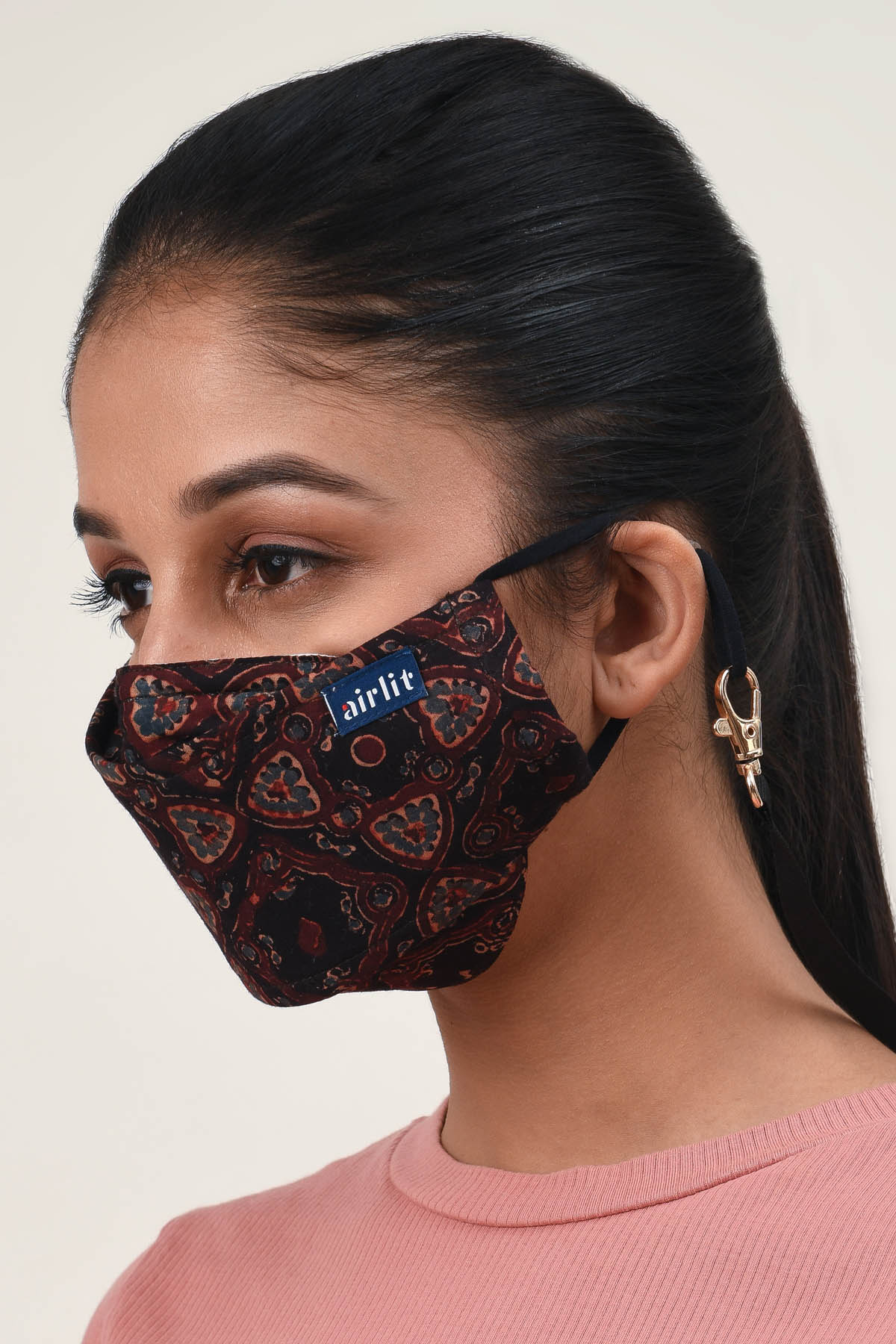 THE STEMMERY Ajrakh Hand Block Printed cotton Reusable Mask/4 Layer Breathable /With Nosepin/Lab tested Antimicrobial/Antiviral/Coolit™/Handmade