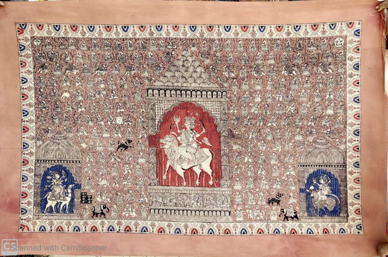 Tree Temple Durga Mata Wall Hanging (Kalamkari)