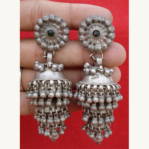 Tribal Gypsy Silver Earring Earplug Pair Belly dancers Ornament