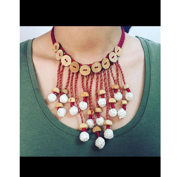 Twisted Thread Tasseled Choker Necklace