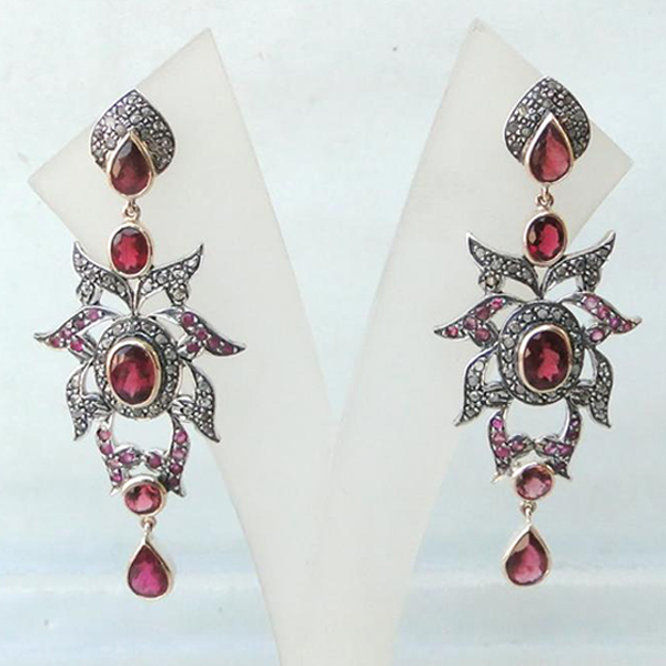 Victorian Diamond & Rubelite Gold Silver Earring Pair