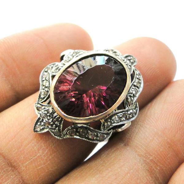 Victorian Diamond 14 K Gold, Sterling Silver Mystic & Diamond Gemstone Ring