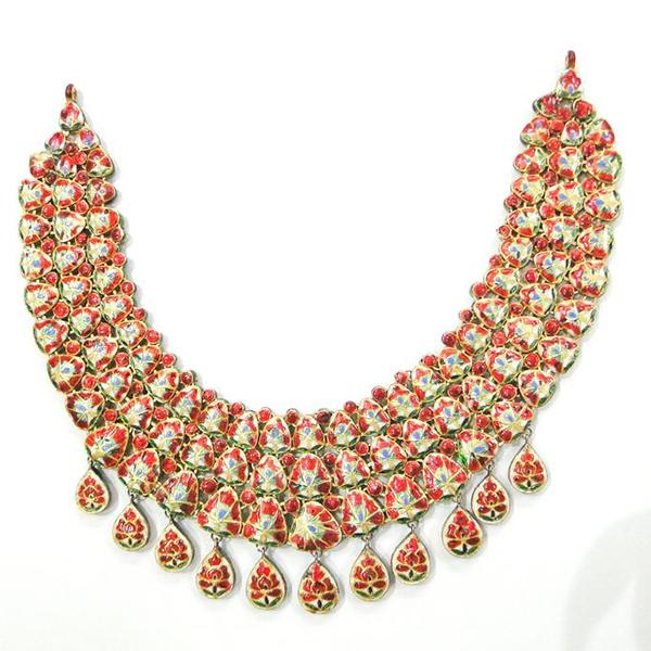 Vintage Antique Jadau 18k Gold jewelry Diamond Polki Enamel Necklace Pendant