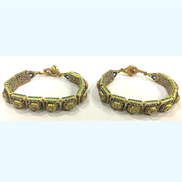 Vintage antique 20k Gold Jewelry Diamond Polki Enamel Bracelet or Bangle Pair