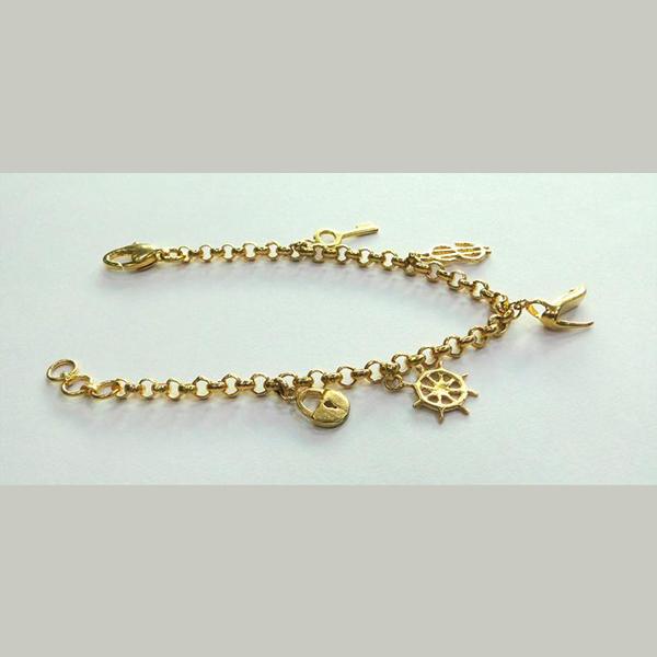 Vintage antique Handmade Solid 22k Gold jewelry Charm Bracelet Bangle