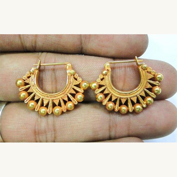 Vintage solid handmade 22 K Gold jewelry hoop earring pair
