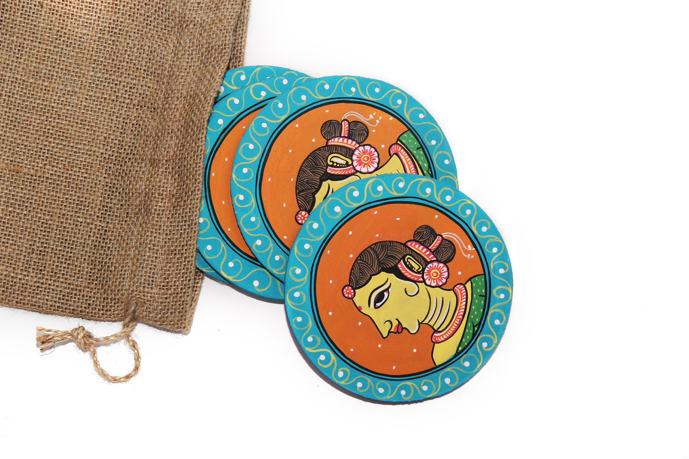 Woman Face: Pattachitra Handmade Coasters (Set of 4)