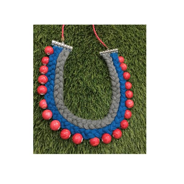 Wool and beads neckpiece