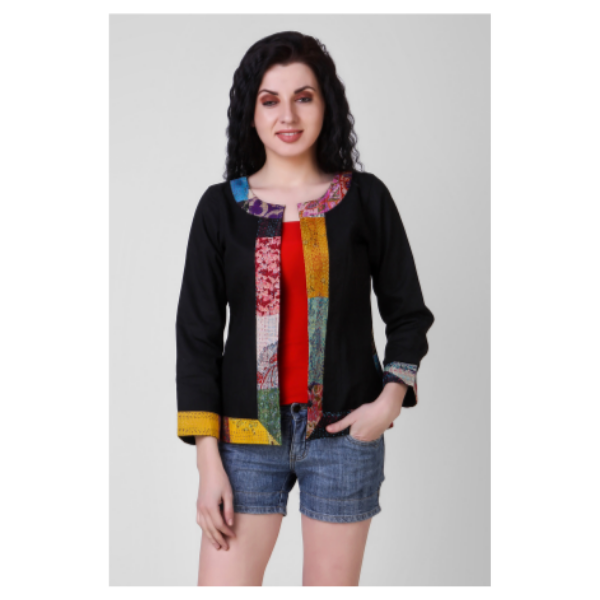 black cotton silk jacket with kantha embroidery