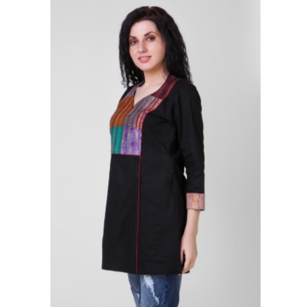 black cotton silk tunic with kantha embroidery