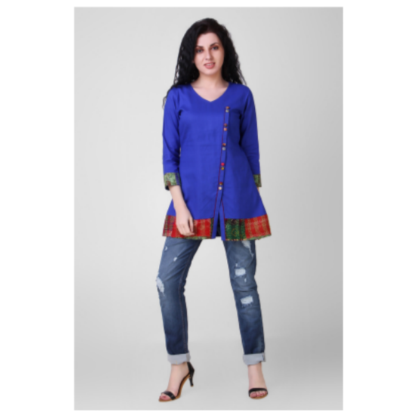 blue cotton silk tunic with kantha embroidery