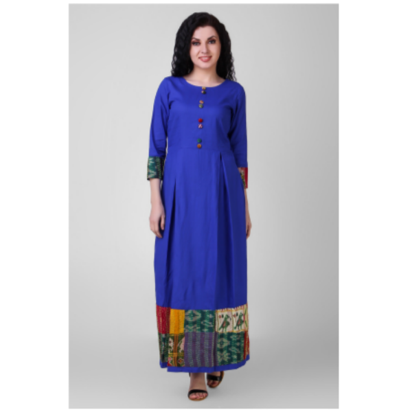blue pleated cotton silk dress with kantha embroidery