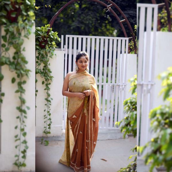 chanderi katha and semal saree