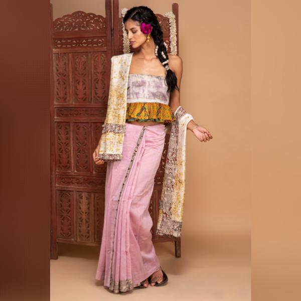 detachable chanderi silk saree