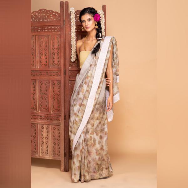 greyish pink zari saree