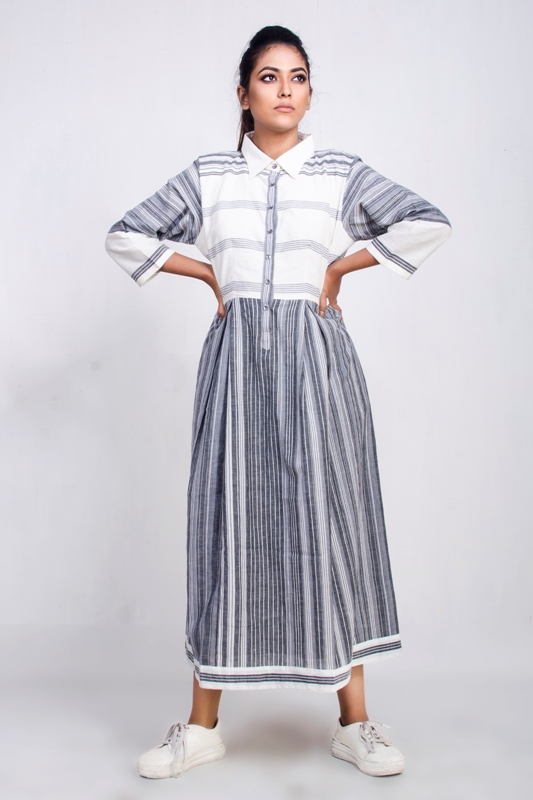 handwoven uneven striped mid-length dress