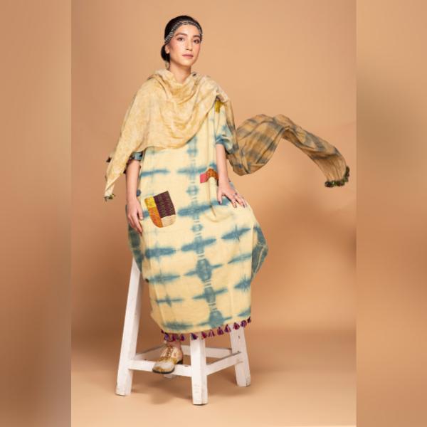 harad and indigo reversible organic kimono dress