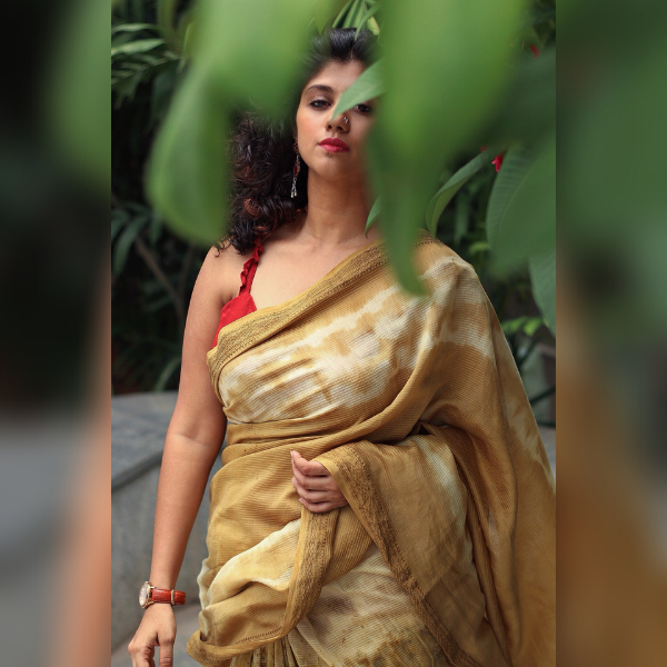harad and marigold maheshwari saree