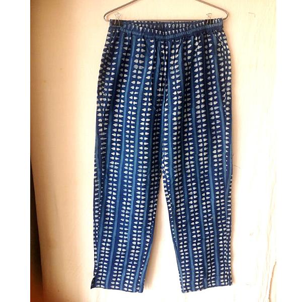 indigo dabu printed pants