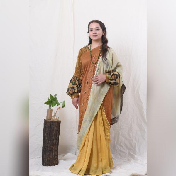 katha marigold and samal flower saree