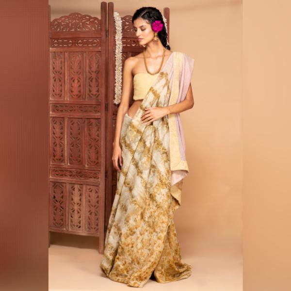 lac and marigold zari chanderi saree