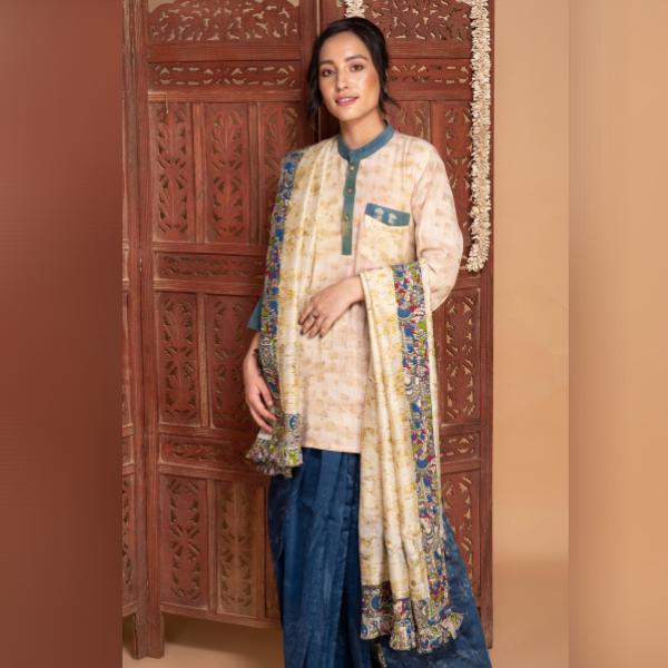 marigold and indigo detachable chanderi silk saree