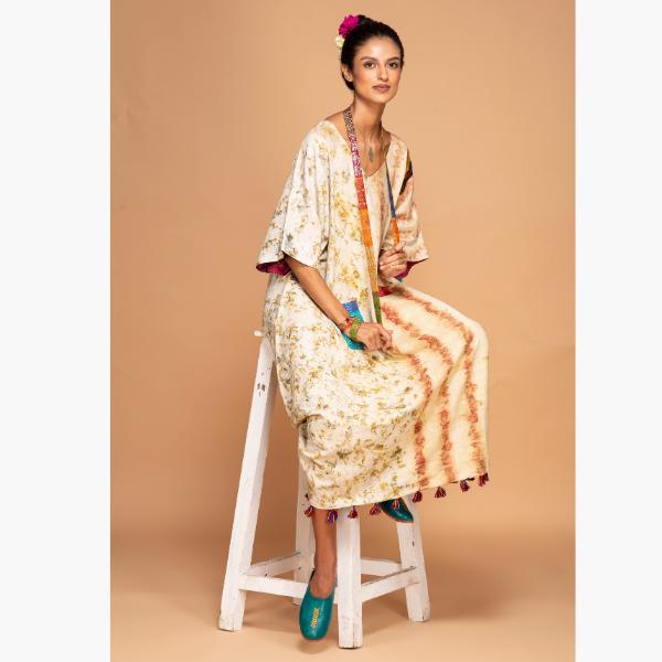 marigold and rose kimono dress