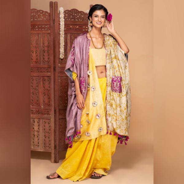 marigold gulabahar chanderi silk saree