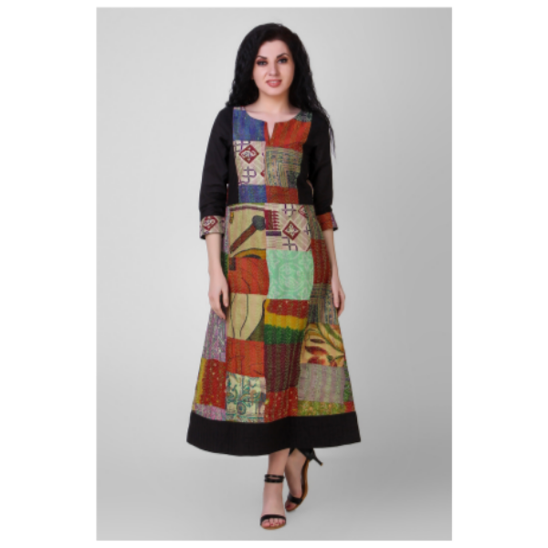 multicolored cotton silk dress with kantha embroidery