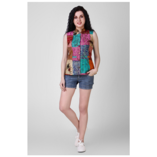 multicolored silk jacket with kantha embroidery