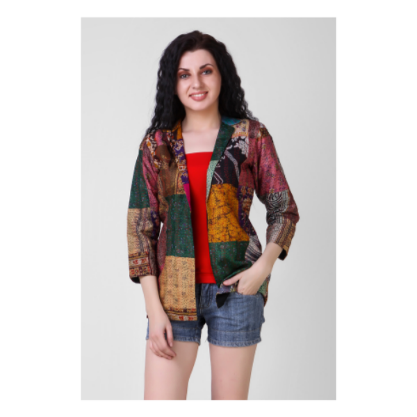multicoloured silk coat with kantha embroidery