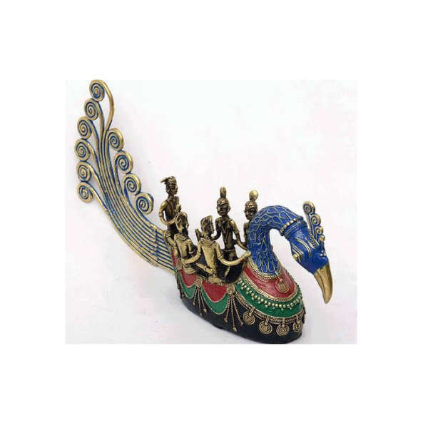 Colorful Large Peacock Boat - Ethnic Dhokra Art Sculpture (15)