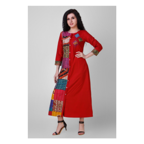red button down cotton silk dress with kantha embroidery