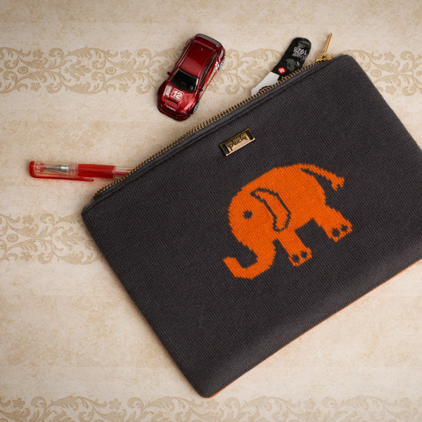 PLUCHI  COTTON STATIONERY INDIAN ELEPHANTS POUCH
