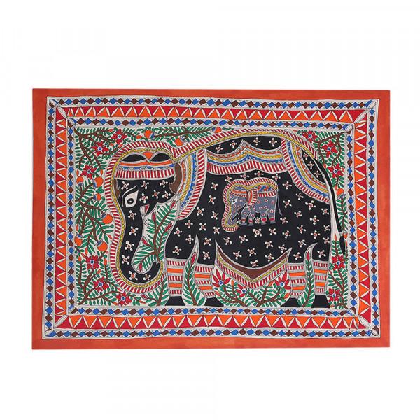 Pregnant Elaphant Madhubani Painting