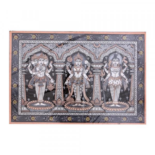 Pattachitra Painting- Brahma Vishnu Mahesh