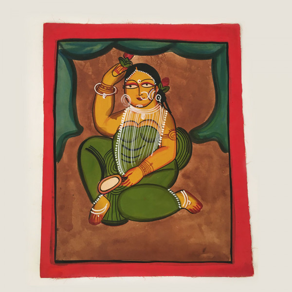 Pattachitra Painting : Woman dressed in Green Saree