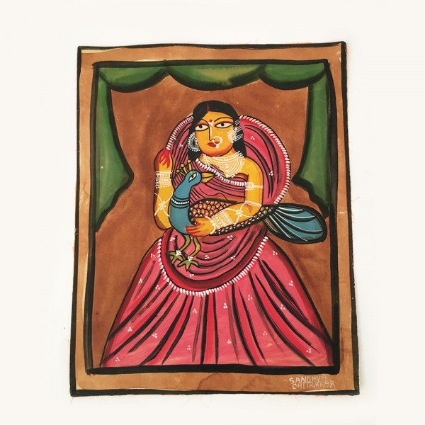 Pattachitra Painting : Woman holding a Peacock