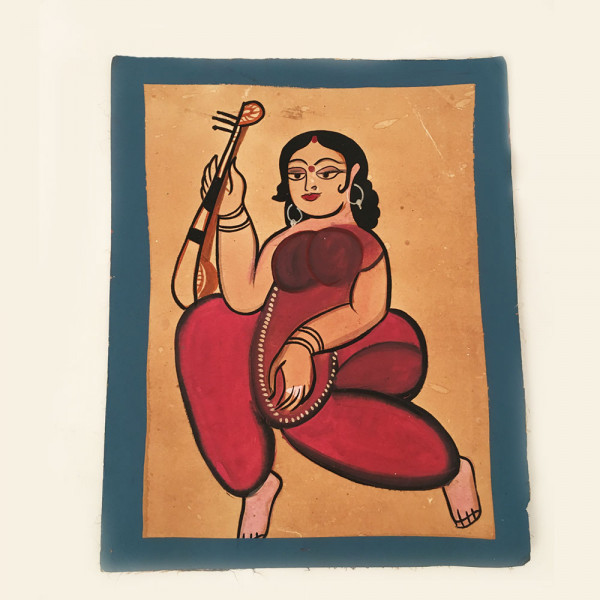 Pattachitra Painting : Woman dressed in Maroon Saree