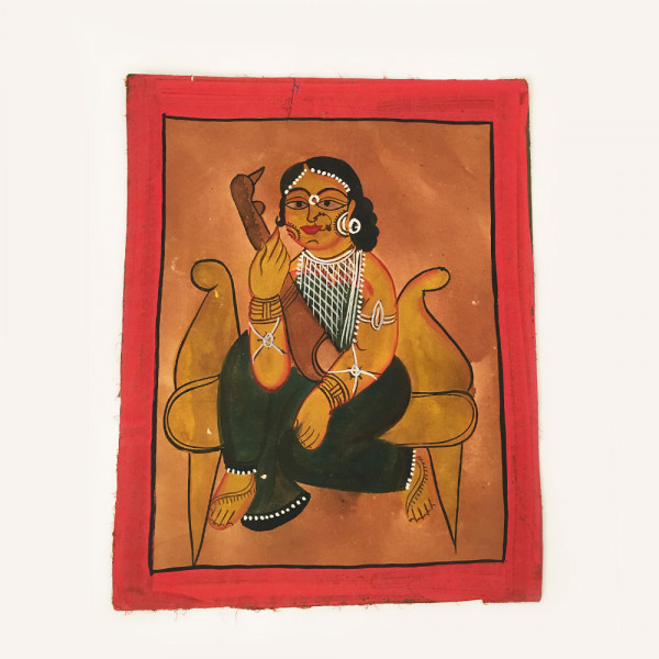 Pattachitra Painting : Woman dressed in Green Saree sitting on a sofa