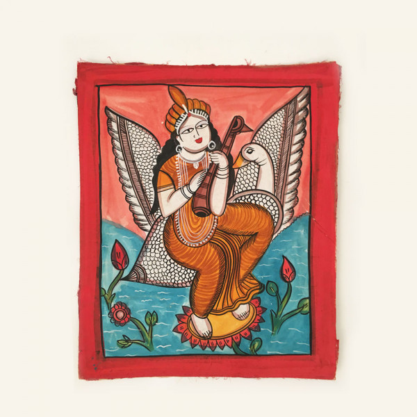 Pattachitra Painting : Goddess Saraswati sitting on a Swan