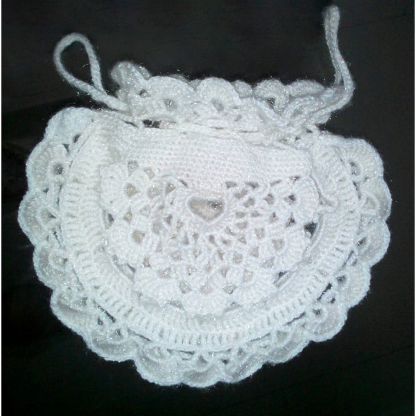 White Crochet Potli Bag