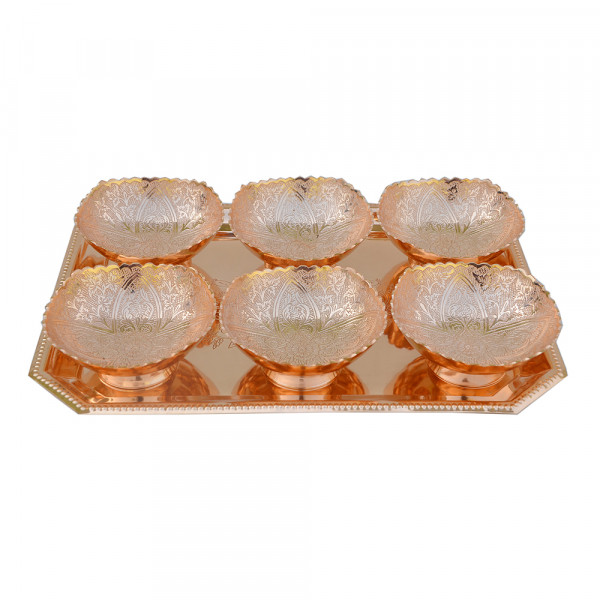Rectangle Tray and 6 Square bowl set with spoon, Copper plated