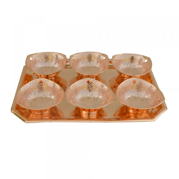 Rectangle Tray and 6 Triangle bowl set with spoon, Copper plated