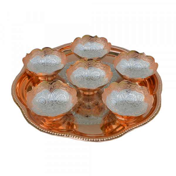 Round Tray and 6 bowl set with spoon in copper dual tone finish