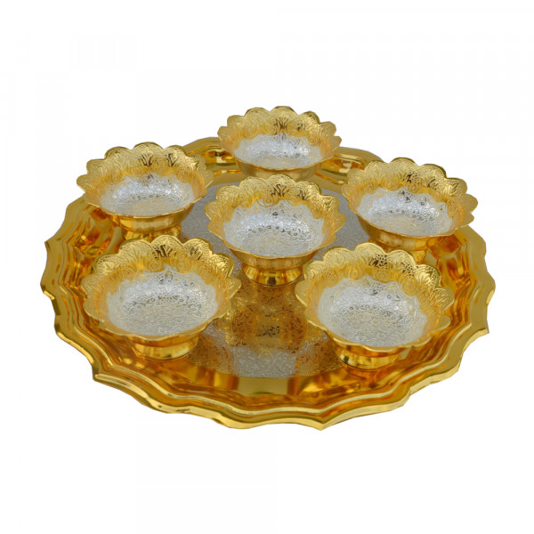 Round Tray and 6 bowl set with spoon in dual tone finish