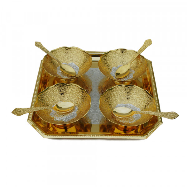Square Tray and 4 bowl in dual tone finish